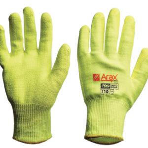 Cut Resistant Hi-Vis Yellow Liner Glove with Polyurethane dip palm