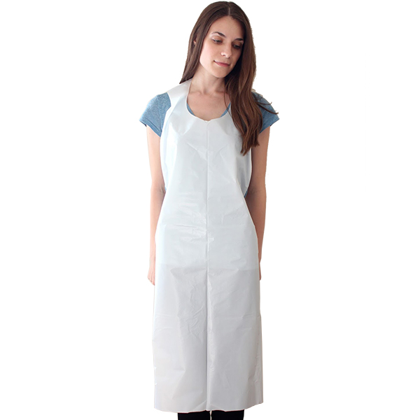 White PE Disposable Aprons On Header Card