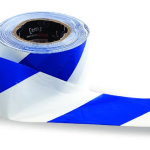 Blue and White Hazard Tape 100m x 75mm