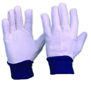 Cotton Drill Glove with Blue Knitted Wrist MENS