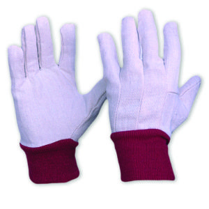 Cotton Drill Glove with Red Knitted Wrist LADIES