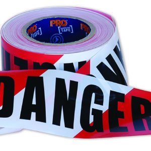 "Red and White ""DANGER"" Hazard Tape 100m x 75mm"