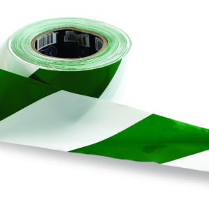 Green and White Hazard Tape 100m x 75mm