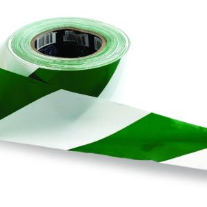 Green and White Hazard Tape 100m x 75mm