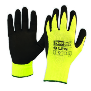 Black Latex Glove with Hi Vis Yellow Nylon Liner