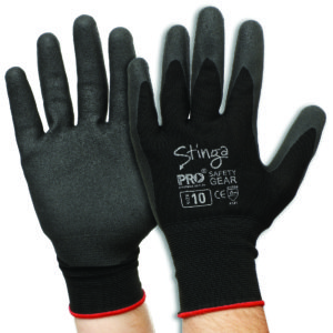 Black PVC Foam Glove on Nylon Liner
