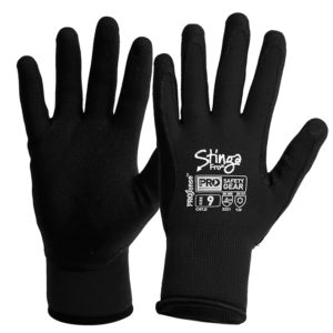 Black PVC Foam Glove on Winter Nylon Liner