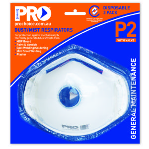 Respirator with Valve 3 Piece Blister Pack P2